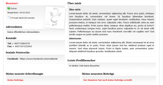 Benutzerprofil bei 1001Buch.net - Drupal Onlineportal Webdesign