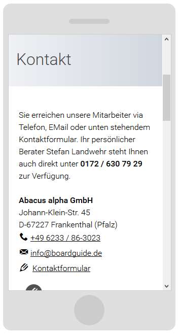 bordguide.de - Drupal 7 CMS Kontakt auf dem Smartphone