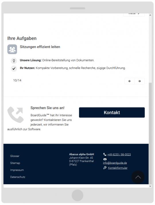 bordguide.de - Drupal 7 CMS Einsatzmöglichkeiten, Kontakt und Footer