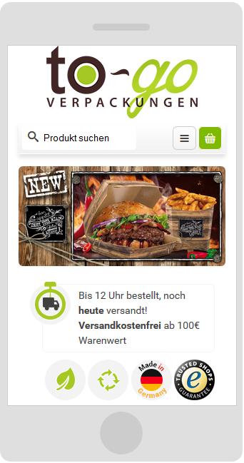 Smartphone To-Go Verpackungen mobilgerätefähiger JTL-Shop3 Webshop Relaunch, Bielefeld