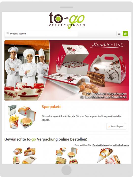Tablet To-Go Verpackungen mobilgerätefähiger JTL-Shop3 Webshop Relaunch, Bielefeld