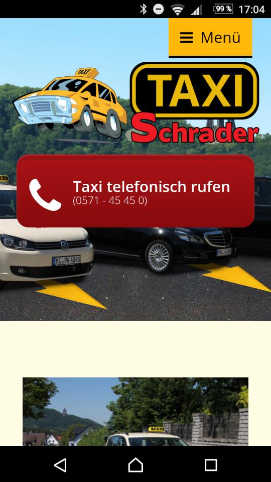 Responsive Webdesign Porta Westfalica Taxi Schrader: Smartphone-Ansicht
