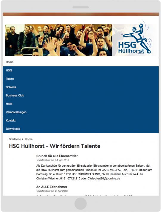 HSG-Huellhorst.de: Responsive Web Design Tablet Vorschau