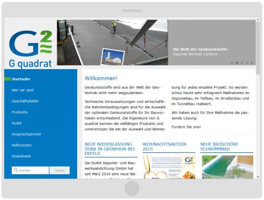 Webdesign mobilgerätefähiger Drupal 7 CMS Internetauftritt G quadrat Geokunststoffgesellschaft