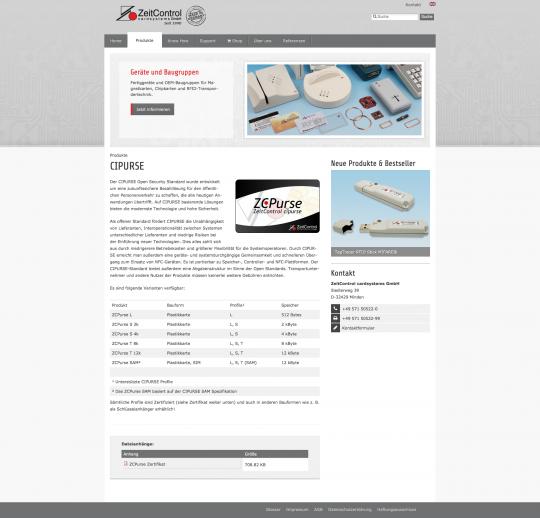 ZeitControl.de: Ansicht Produktseite