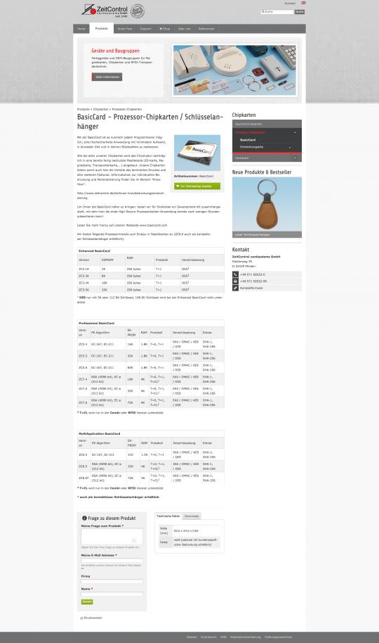ZeitControl.de: Ansicht Produktseite mit Shop-Integration