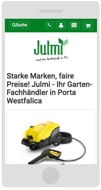 Julmi-Garten.de: Responsive Smartphone Ansicht