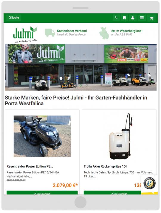 Julmi-Garten.de: Responsive Tablet Ansicht