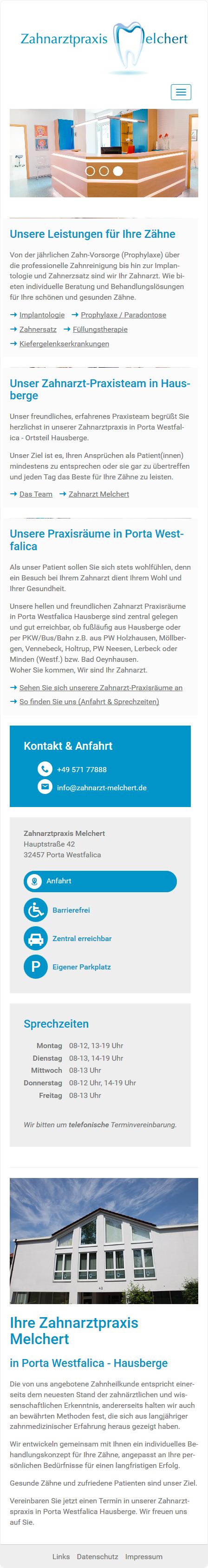 Smartphone Darstellung - Webdesign Porta Westfalica Zahnarztpraxis Melchert