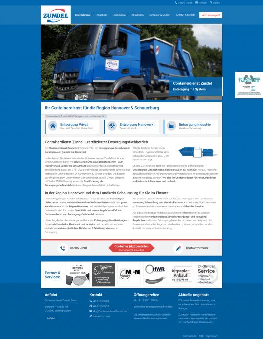 Containerdienst Zundel aus Barsinghausen bei Hannover - Startseite auf einem Desktop PC