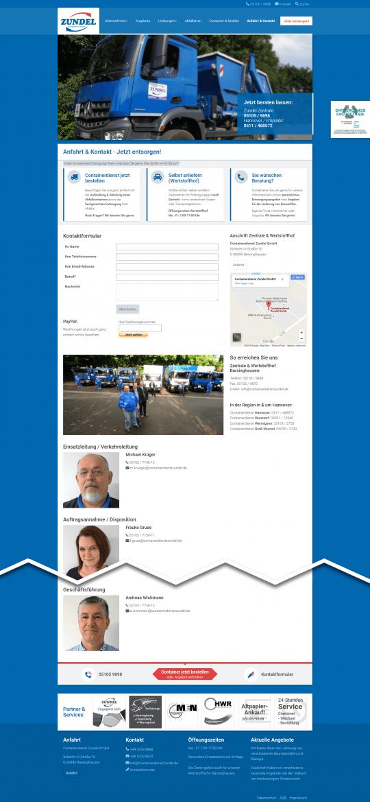 Containerdienst Zundel aus Barsinghausen bei Hannover - Kontaktseite auf einem Desktop PC