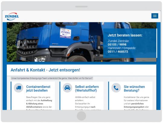 Containerdienst Zundel aus Barsinghausen bei Hannover - Oberer Teil der Kontaktseite auf einem Tablet