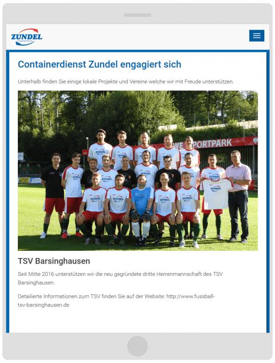 Containerdienst Zundel aus Barsinghausen bei Hannover - Seite Engagement auf einem Tablet