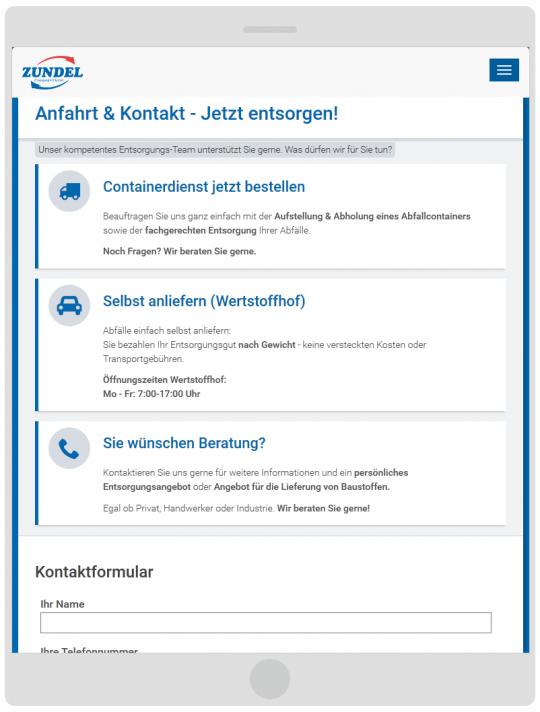 Containerdienst Zundel aus Barsinghausen bei Hannover - Kontaktseite auf einem Tablet