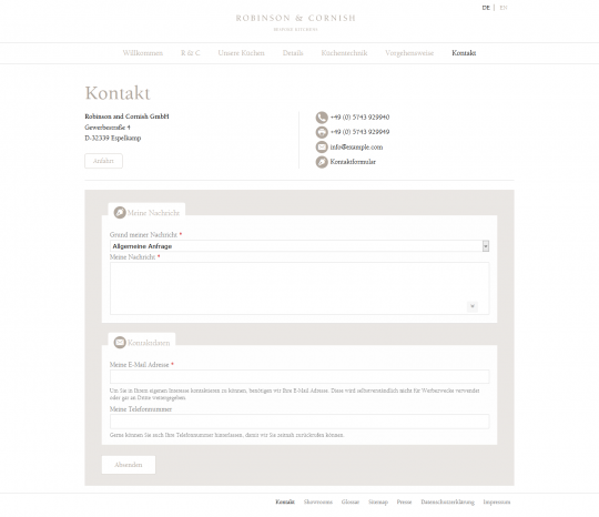 Drupal CMS Webdesign Küchenhersteller Robinson & Cornish Referenz