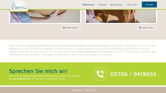 Hundephysio-Minden.de Webdesign CTA Bereich Desktop PC / Laptop
