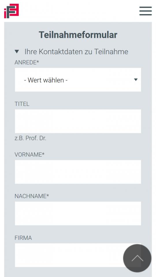 Drupal CMS Webdesigner IFE Event Registrierung auf Smartphone