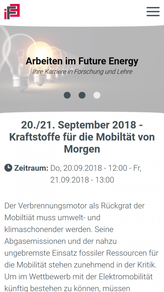 Drupal CMS Webdesigner IFE Event Detailansicht auf Smartphone
