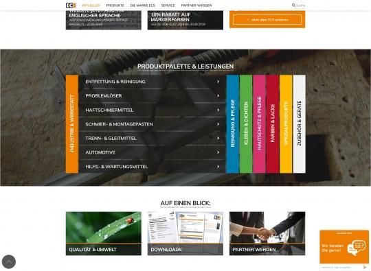 Startseite Desktop: Produktkategorie Übersicht