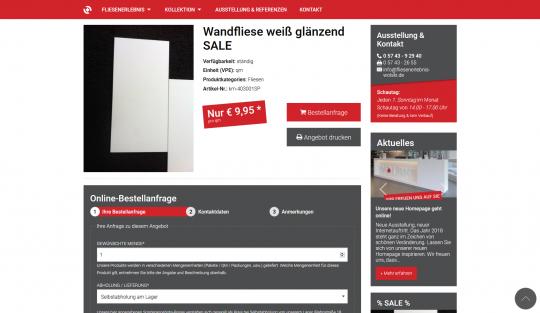 Produkt Sale Seite mit Bestellanfrage-Formular