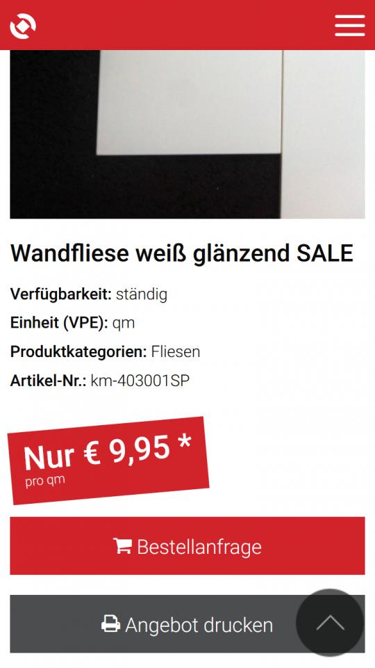 Produkt Sale Seite auf dem Smartphone