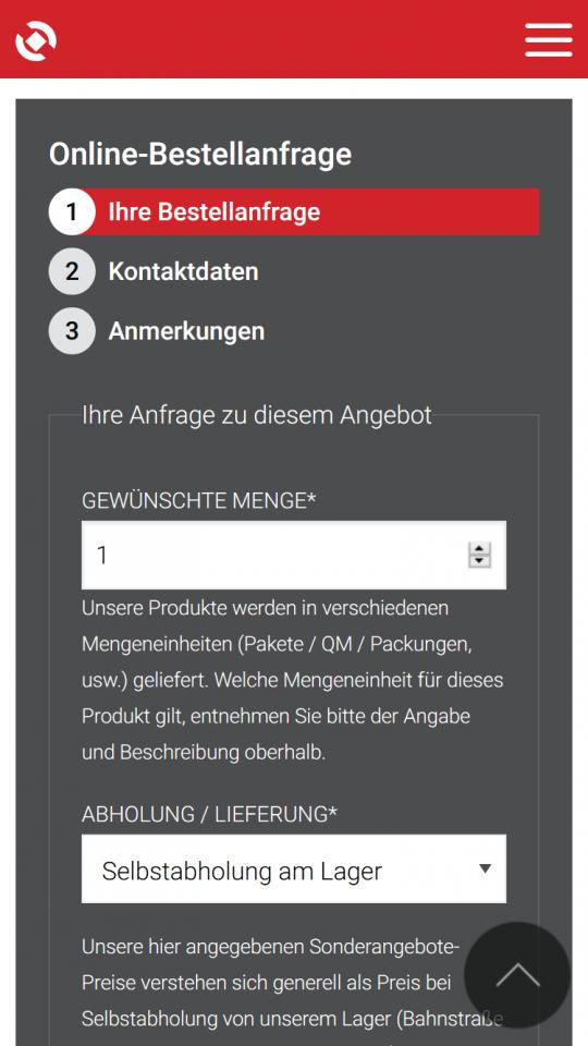 Produkt Sale Bestellanfrage-Formular auf dem Smartphone