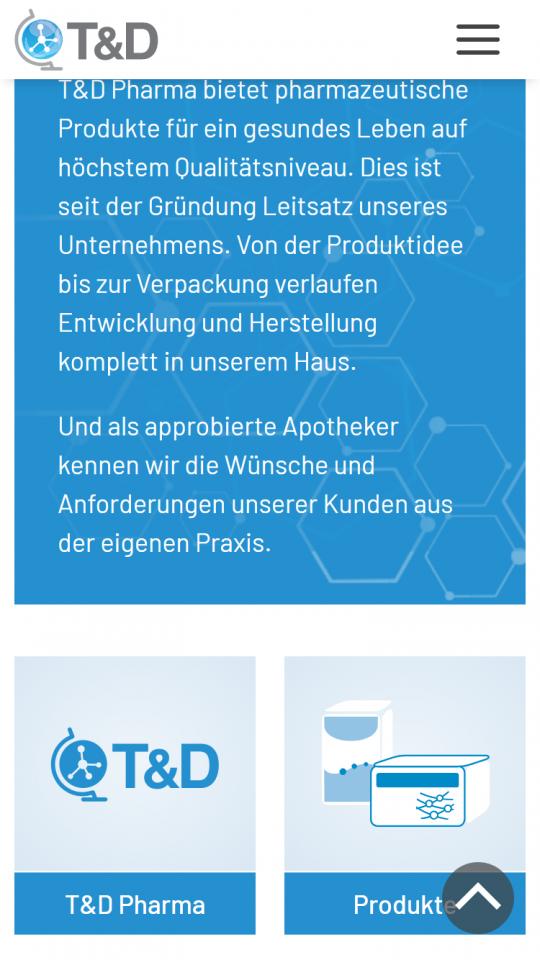 Startseite auf dem Smartphone: Kurzbeschreibung & Unternehmensbereiche als Kacheln