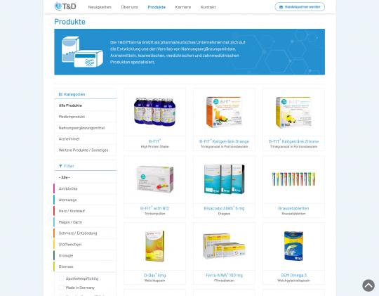 Produktübersicht mit Filtermöglichkeit