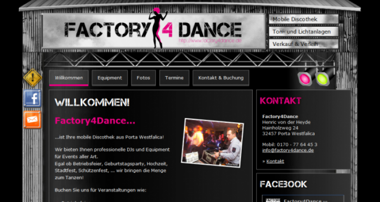 Webdesign & Social Media Integration Factory4Dance