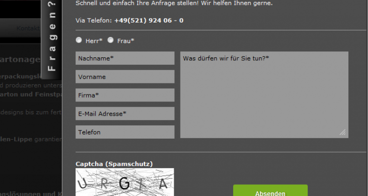 Weroca Kartonagen Webdesign Kontakt Layer Bielefeld