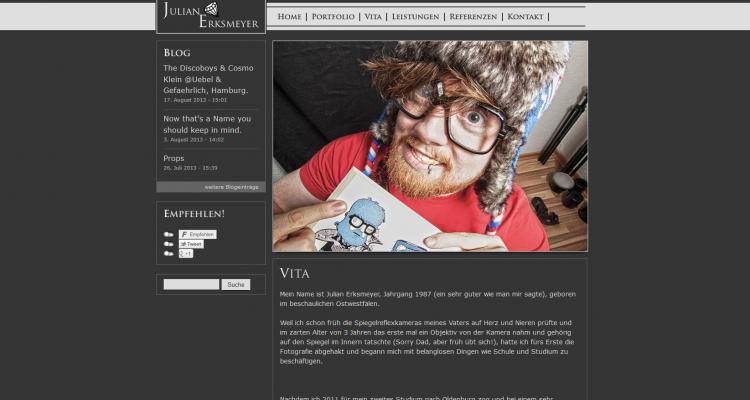 Drupal 7 Webdesign - Julian Erksmeyer, Fotograf