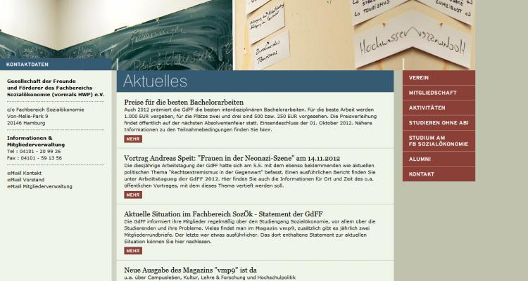 Portierung Drupal Website GdFF Sozialökonomie Universität Hamburg